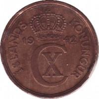 obverse of 2 Aurar - Christian X (1926 - 1942) coin with KM# 6 from Iceland. Inscription: ÍSLANDS KONUNGUR 19 42