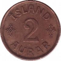 reverse of 2 Aurar - Christian X (1926 - 1942) coin with KM# 6 from Iceland. Inscription: ÍSLAND 2 AURAR