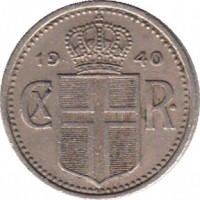 obverse of 10 Aurar - Christian X (1922 - 1940) coin with KM# 1 from Iceland. Inscription: 19 40 CX R.