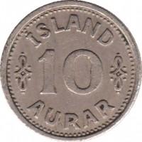 reverse of 10 Aurar - Christian X (1922 - 1940) coin with KM# 1 from Iceland. Inscription: ISLAND 10 AURAR