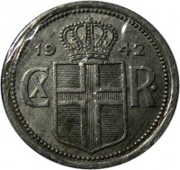 obverse of 25 Aurar - Christian X (1942) coin with KM# 2a from Iceland. Inscription: 19 42 CX R ·