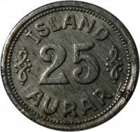 reverse of 25 Aurar - Christian X (1942) coin with KM# 2a from Iceland. Inscription: ISLAND 25 AURAR