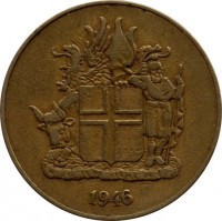 obverse of 2 Krónur (1946) coin with KM# 13 from Iceland. Inscription: 1946