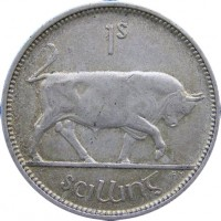 reverse of 1 Shilling (1928 - 1937) coin with KM# 6 from Ireland. Inscription: 1s scilling pm