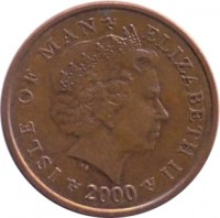 obverse of 2 Pence - Elizabeth II - 4'th Portrait (2000 - 2003) coin with KM# 1037 from Isle of Man. Inscription: ISLE OF MAN ELIZABETH II 2000