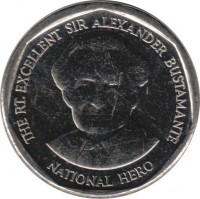 reverse of 1 Dollar - Elizabeth II - Round (2008 - 2015) coin with KM# 189 from Jamaica. Inscription: THE RT. EXCELLENT SIR ALEXANDER BUSTAMANTE NATIONAL HERO