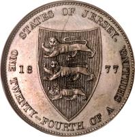 reverse of 1/24 Shilling - Victoria (1877 - 1894) coin with KM# 7 from Jersey. Inscription: STATES OF JERSEY. 18 77 ONE TWENTY-FOURTH OF A SHILLING.