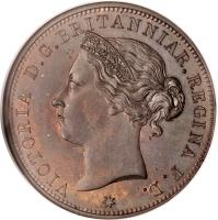 obverse of 1/12 Shilling - Victoria (1877 - 1894) coin with KM# 8 from Jersey. Inscription: * VICTORIA D.G.BRITANNIAR.REGINA F.D.