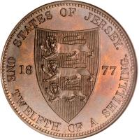 reverse of 1/12 Shilling - Victoria (1877 - 1894) coin with KM# 8 from Jersey. Inscription: STATES OF JERSEY. 18 77 ONE TWELFTH OF A SHILLING.