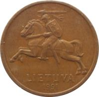 obverse of 50 Centų (1991) coin with KM# 90 from Lithuania. Inscription: LIETUVA 1991