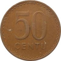 reverse of 50 Centų (1991) coin with KM# 90 from Lithuania. Inscription: 50 CENTŲ