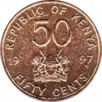 reverse of 50 Cents (1995 - 1997) coin with KM# 28 from Kenya. Inscription: REPUBLIQUE OF KENYA 50 19 97 FIFTY CENTS