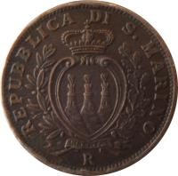 obverse of 10 Centesimi (1935 - 1938) coin with KM# 13 from San Marino. Inscription: REPUBBLICA DI S. MARINO R
