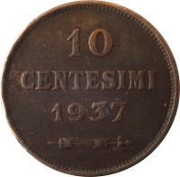reverse of 10 Centesimi (1935 - 1938) coin with KM# 13 from San Marino. Inscription: 10 CENTESIMI 1937