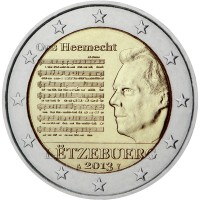 obverse of 2 Euro - Henri I - National Anthem (2013) coin with KM# 125 from Luxembourg. Inscription: Ons Heemecht LËTZEBUERG 2013