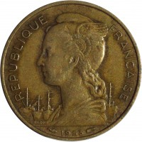 obverse of 20 Francs (1953) coin with KM# 7 from Madagascar. Inscription: REPUBLIQUE FRANCAISE 1953