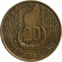 reverse of 20 Francs (1953) coin with KM# 7 from Madagascar. Inscription: 20 FRANCS MADAGASCAR
