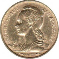 obverse of 10 Francs (1953) coin with KM# 6 from Madagascar. Inscription: REPUBLIQUE FRANCAISE 1953