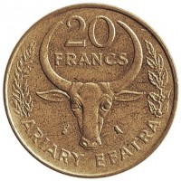 reverse of 20 Francs - FAO (1970 - 1989) coin with KM# 12 from Madagascar. Inscription: 20 FRANCS ARIARY EFATRA