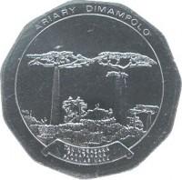 obverse of 50 Ariary (1994 - 2005) coin with KM# 25 from Madagascar. Inscription: ARIARY DIMAMPOLO TANINDRAZANA FAHAFAHANA FAHAMARINANA