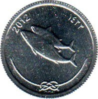 obverse of 5 Laari (2012) coin with KM# 114 from Maldives. Inscription: 2012 ١٤٣٣ MMA
