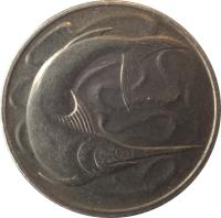 obverse of 20 Cents (1967 - 1985) coin with KM# 4 from Singapore.
