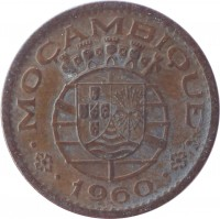 obverse of 10 Centavos (1960 - 1961) coin with KM# 83 from Mozambique. Inscription: MOÇAMBIQUE 1960