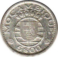obverse of 5 Escudos (1960) coin with KM# 84 from Mozambique. Inscription: MOÇAMBIQUE 5$00