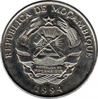 obverse of 1000 Meticais (1994) coin with KM# 122 from Mozambique. Inscription: REPÚBLICA DE MOÇAMBIQUE 1994