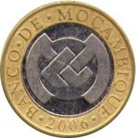 obverse of 10 Meticais (2006) coin with KM# 140 from Mozambique. Inscription: BANCO · DE · MOÇAMBIQUE · 2006 ·