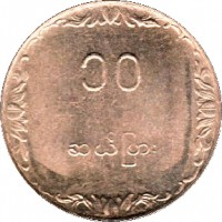 reverse of 10 Pyas - FAO (1983) coin with KM# 49 from Myanmar.