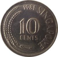 reverse of 10 Cents (1967 - 1985) coin with KM# 3 from Singapore. Inscription: 10 CENTS 1968 SINGAPORE