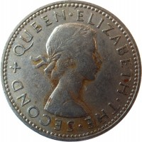 obverse of 1 Shilling - Elizabeth II - 1'st Portrait (1953 - 1965) coin with KM# 27 from New Zealand. Inscription: + QUEEN · ELIZABETH · THE · SECOND