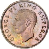 obverse of 1/2 Penny - George VI (1940 - 1947) coin with KM# 12 from New Zealand. Inscription: GEORGE VI KING EMPEROR