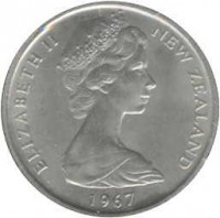 obverse of 5 Cents - Elizabeth II - 2'nd Portrait (1967 - 1985) coin with KM# 34 from New Zealand. Inscription: ELIZABETH II NEW ZEALAND 1968