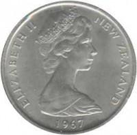 obverse of 5 Cents - Elizabeth II - 2'nd Portrait (1967 - 1985) coin with KM# 34 from New Zealand. Inscription: ELIZABETH II NEW ZEALAND 1968