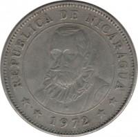 obverse of 1 Córdoba (1972) coin with KM# 26 from Nicaragua. Inscription: REPUBLICA DE NICARAGUA **1972**