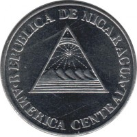 obverse of 50 Centavos (1994) coin with KM# 83 from Nicaragua. Inscription: REPUBLICA DE NICARAGUA AMERICA CENTRAL