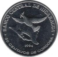reverse of 50 Centavos (1994) coin with KM# 83 from Nicaragua. Inscription: BANCO CENTRAL DE NICARAGUA 1994 50 CENTAVOS DE CORDOBA