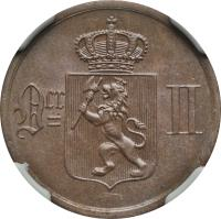 obverse of 2 Øre - Oscar II (1876 - 1902) coin with KM# 353 from Norway. Inscription: Ocr II