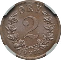 reverse of 2 Øre - Oscar II (1876 - 1902) coin with KM# 353 from Norway. Inscription: ØRE 2 1877