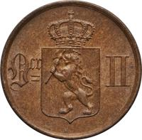 obverse of 1 Øre - Oscar II (1876 - 1906) coin with KM# 352 from Norway. Inscription: Or II