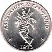 reverse of 2 1/2 Centésimos - FAO (1973 - 1975) coin with KM# 32 from Panama. Inscription: ASENTAMIENTO CAMPESINO 1973