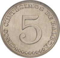 reverse of 5 Centésimos (1929 - 1932) coin with KM# 9 from Panama. Inscription: 5