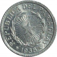 obverse of 1 Peso (1938) coin with KM# 16 from Paraguay. Inscription: REPUBLICA DEL PARAGUAY * 1938 *