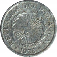 obverse of 2 Pesos (1938) coin with KM# 17 from Paraguay. Inscription: REPUBLICA DEL PARAGUAY * 1938 *