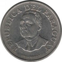 obverse of 10 Guaraníes (1975 - 1976) coin with KM# 153 from Paraguay. Inscription: REPUBLICA DEL PARAGUAY GRAL. GARAY