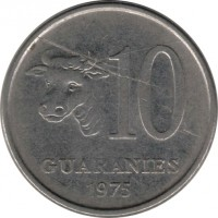 reverse of 10 Guaraníes (1975 - 1976) coin with KM# 153 from Paraguay. Inscription: 10 GUARANIES 1975