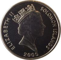 obverse of 5 Cents - Elizabeth II - 3'rd Portrait; Magnetic (1993 - 2005) coin with KM# 26a from Solomon Islands. Inscription: ELIZABETH II SOLOMON ISLANDS 2005