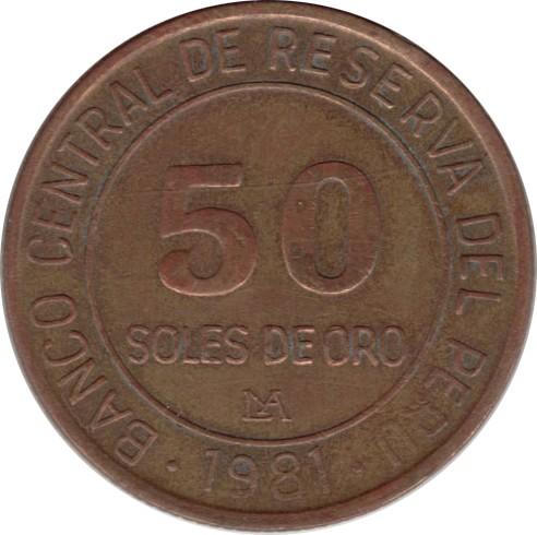 50 Soles De Oro 1979 1983 Peru Km 273 Coinsbook